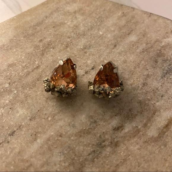 Borcik Jewelry - Pyrite and Peach Stud Earrings